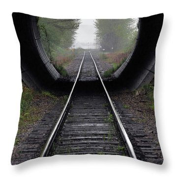Tunnel Into The Mist  Throw Pillow