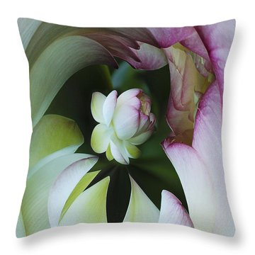 Tunnel Of Lotus Throw Pillow by Jean Noren