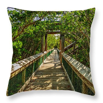 Tunnel Of Mangrove Green Throw Pillow