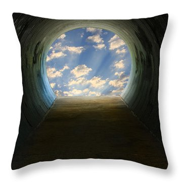 Tunnel With Light Throw Pillow