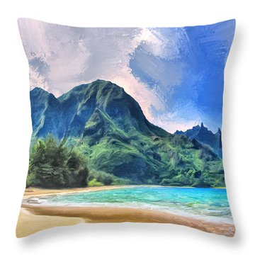 Tunnels Beach Kauai Throw Pillow by Dominic Piperata