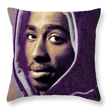 Tupac Shakur And Lyrics Throw Pillow by Tony Rubino