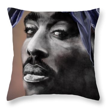 Tupac - The Tip Of The Iceberg  Throw Pillow by Reggie Duffie