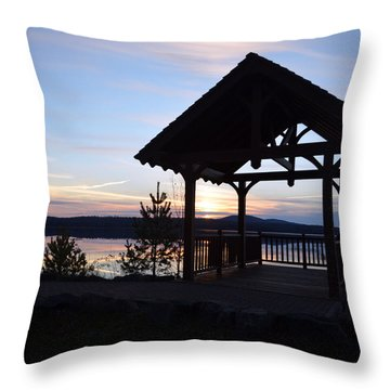 Tupper Lake Sunset Over Raquette Pond Throw Pillow by Maggy Marsh