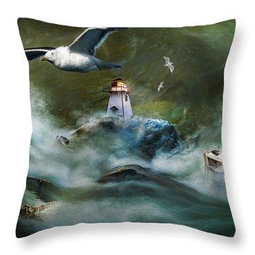 Turbulence At Irving Lighthouse Throw Pillow