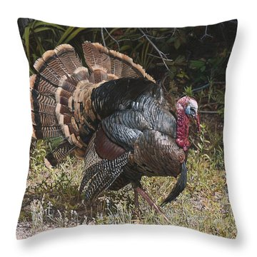 Turkey In The Weeds Throw Pillow