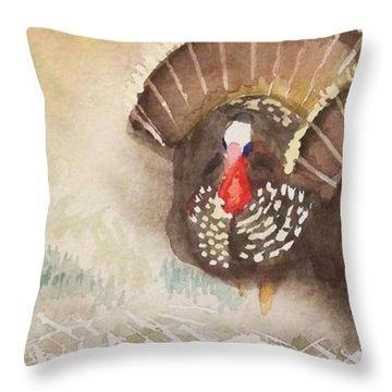 Turkeys Throw Pillow by Yoshiko Mishina
