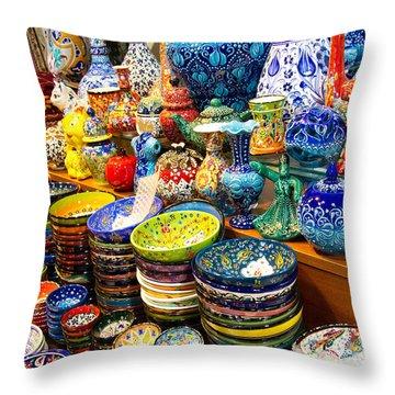 Turkish Ceramic Pottery 1 Throw Pillow by David Smith