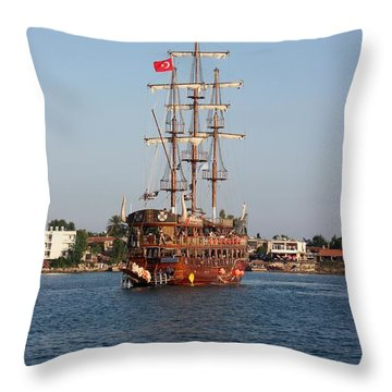 Turkish Sailship Throw Pillow