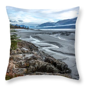 Throw Pillow featuring the photograph Turnagain Tide Flats by Tim Newton