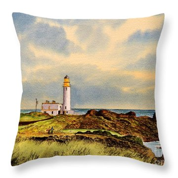 Turnberry Golf Course 9th Tee Throw Pillow by Bill Holkham