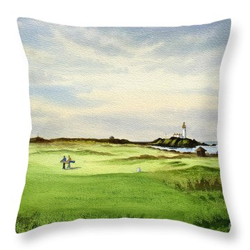 Turnberry Golf Course Scotland 12th Tee Throw Pillow by Bill Holkham