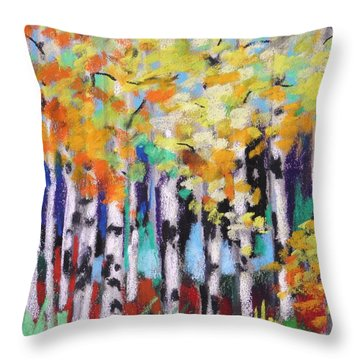 Turning Birches Throw Pillow by John Williams