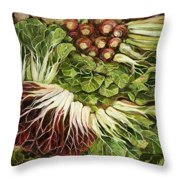 Turnip And Chard Concerto Throw Pillow by Jen Norton