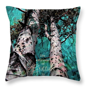 Throw Pillow featuring the photograph Turquois Trees  by Cindy Greenstein