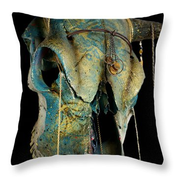 Turquoise And Gold Illuminating Steer Skull Throw Pillow