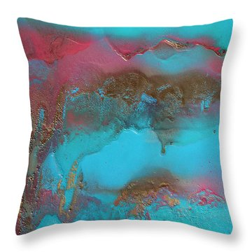 Turquoise And Pink Abstract Painting Throw Pillow