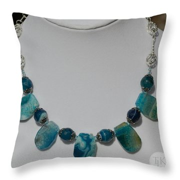 Turquoise And Sapphire Agate Necklace 3674 Throw Pillow by Teresa Mucha