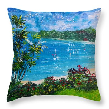 Turquoise Bay On A Sunny Day Throw Pillow
