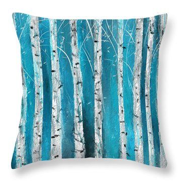 Turquoise Birch Trees II- Turquoise Art Throw Pillow