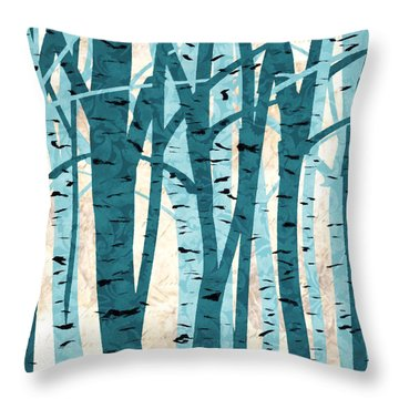 Turquoise Birch Trees Throw Pillow