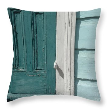 Turquoise Door Throw Pillow by Valerie Reeves