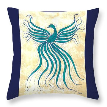 Turquoise Flutter Throw Pillow by Susie WEBER