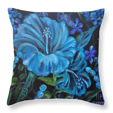 Turquoise Hibiscus Throw Pillow