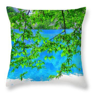 Throw Pillow featuring the photograph Turquoise Lake by Ramona Johnston