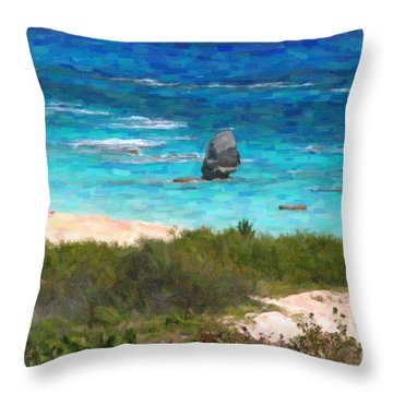 Throw Pillow featuring the photograph Turquoise Ocean And Pink Beach by Verena Matthew
