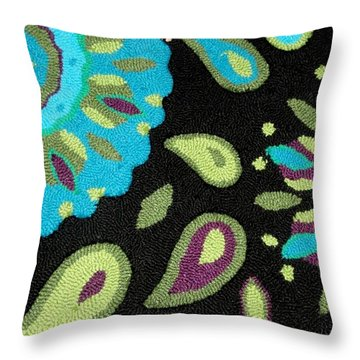 Throw Pillow featuring the photograph Tapestry Turquoise Rug by Janette Boyd