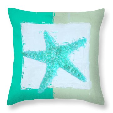 Turquoise Seashells Ix Throw Pillow by Lourry Legarde