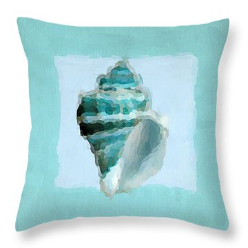 Turquoise Seashells Viii Throw Pillow by Lourry Legarde