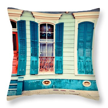 Turquoise Shutters Throw Pillow by Sylvia Cook