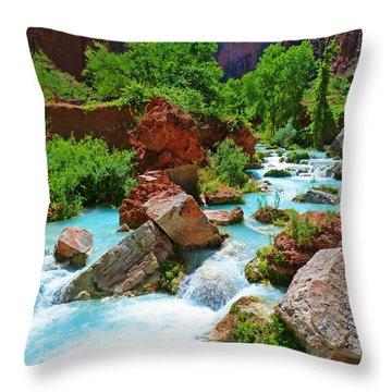 Turquoise Stream Throw Pillow