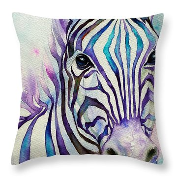Turquoise Stripes Zebra Throw Pillow