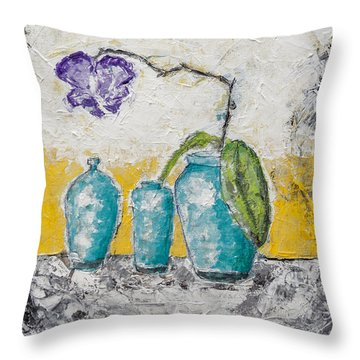 Throw Pillow featuring the painting Turquoise Vases And Purple Orchid Still Life by Ben Gertsberg