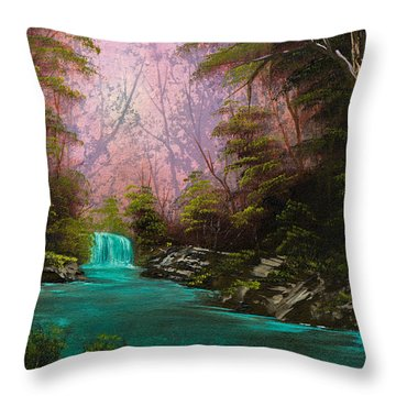 Turquoise Waterfall Throw Pillow by Chris Steele