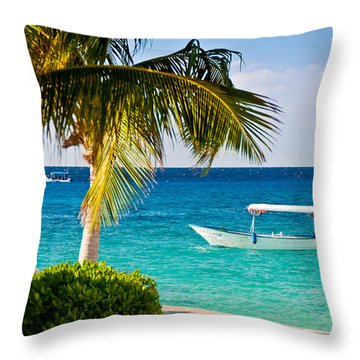 Turquoise Waters In Cozumel Throw Pillow