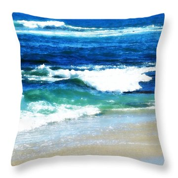 Turquoise Waves... Throw Pillow by Sharon Soberon