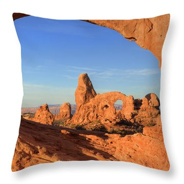Throw Pillow featuring the photograph Turret Arch Through North Window by Alan Vance Ley