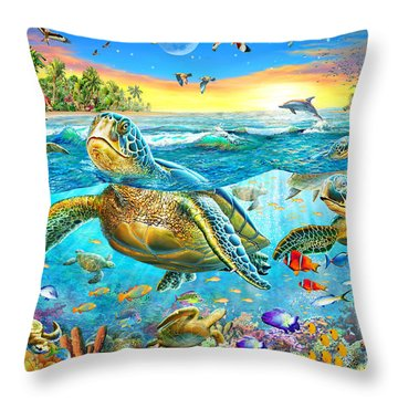 Turtle Cove Throw Pillow by Adrian Chesterman