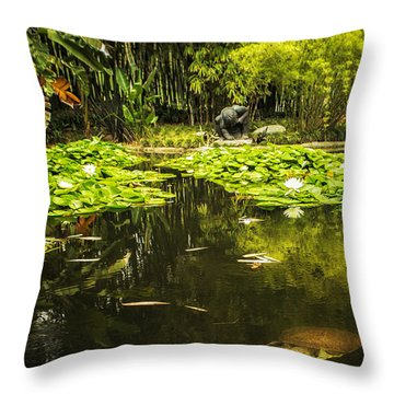 Turtle In A Lily Pond Throw Pillow