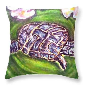 Throw Pillow featuring the painting Turtle Ripples by Kimberlee Baxter