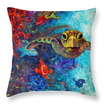 Turtle Wall 2 Throw Pillow