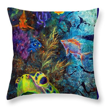 Turtle Wall 3 Throw Pillow by Ashley Kujan