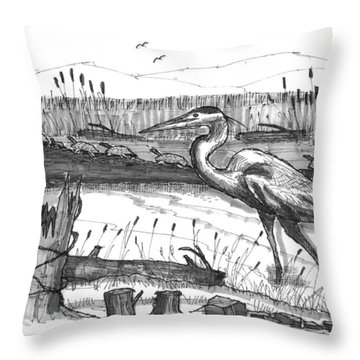 Turtles And Heron Throw Pillow