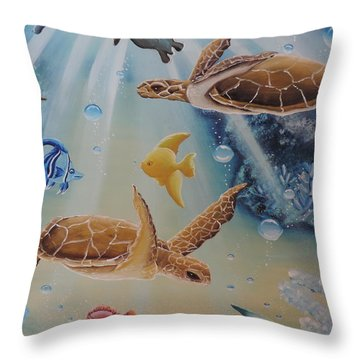 Turtles At Sea #2 Throw Pillow