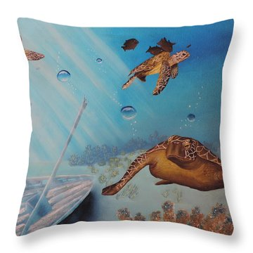 Turtles At Sea Throw Pillow