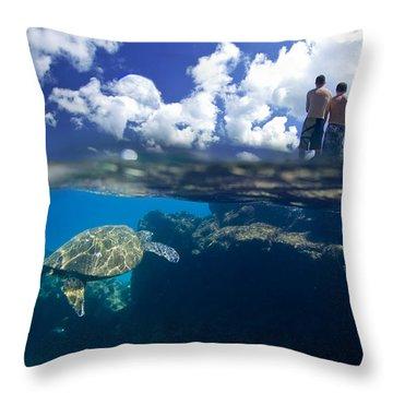 Turtles View Throw Pillow by Sean Davey